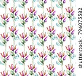 seamless pattern with tulips... | Shutterstock . vector #796075582
