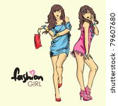 fashion girls in sketch style.... | Shutterstock .eps vector #79607680