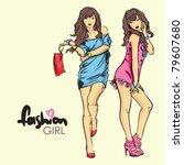 fashion girls in sketch style.... | Shutterstock .eps vector #79607680