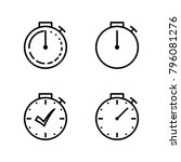 stopwatch thin line icons set... | Shutterstock .eps vector #796081276