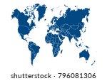 world map vector   Shutterstock .eps vector #796081306