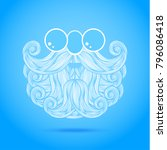 christmas card with a beard and ... | Shutterstock . vector #796086418