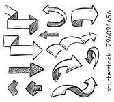 handdrawn set of vector arrows... | Shutterstock .eps vector #796091656