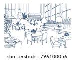 modern restaurant or cafe... | Shutterstock .eps vector #796100056