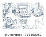 restaurant or bistro interior... | Shutterstock .eps vector #796100062