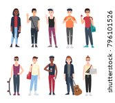collection of teenage boys... | Shutterstock .eps vector #796101526