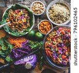 veggie bowl over coconut quinoa | Shutterstock . vector #796102465