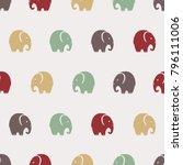 Seamless Cute Elephants Patter...