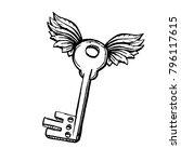 door key with two wings in... | Shutterstock .eps vector #796117615