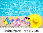 swimming pool accessories flat...   Shutterstock . vector #796117738