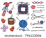 set tools for knitting or... | Shutterstock .eps vector #796123006
