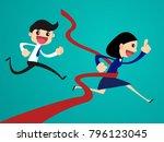 finish line. business woman... | Shutterstock .eps vector #796123045