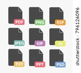 file formats vector icon set...