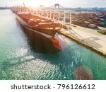container ship in an... | Shutterstock . vector #796126612