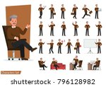 set of businessman character... | Shutterstock .eps vector #796128982