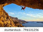 male climber on overhanging... | Shutterstock . vector #796131256