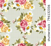seamless floral pattern with... | Shutterstock .eps vector #796132336