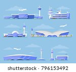 International airport architecture. Modern glassy passenger terminal, flight control tower, plane arrivals vector illustration. Worldwide traveling, air transportation business, commercial airline set - stock vector
