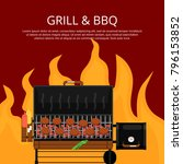 barbecue party poster with... | Shutterstock .eps vector #796153852