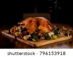 whole roasted turkey serving... | Shutterstock . vector #796153918