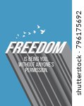 freedom quote in long shadow... | Shutterstock .eps vector #796175692