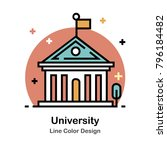 university building line color... | Shutterstock .eps vector #796184482