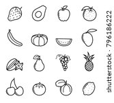 fruits icon vector set | Shutterstock .eps vector #796186222