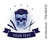 barbershop logo template.... | Shutterstock .eps vector #796186552