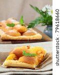 Dessert Tart with apricots, marzipan and sugar - stock photo