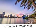 miami  florida  usa skyline on... | Shutterstock . vector #796190302