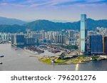panorama of kowloon peninsula... | Shutterstock . vector #796201276