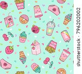 cute pastel foods patches... | Shutterstock .eps vector #796202002