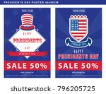 presidents day sale poster with ... | Shutterstock .eps vector #796205725