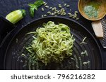 """Small photo of Eating Healthy Zucchini Noodles with Pesto.""""Spaghetti"""" noodles made out of Zucchini is called """"Zoodles"""", a fad amongst healthy eaters. This dish is served with pesto and parmigiano reggiano."""