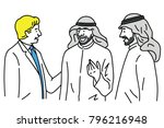 caucasian businessman talking ... | Shutterstock .eps vector #796216948
