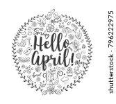 hello april vintage doodle... | Shutterstock .eps vector #796222975