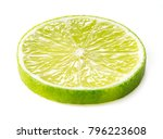 single slice of lime isolated... | Shutterstock . vector #796223608