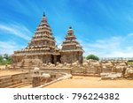 Shore temple a popular tourist destination and UNESCO world heritage at Mahabalipuram, Tamil Nadu, India