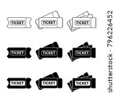 ticket vector icon set.... | Shutterstock .eps vector #796226452