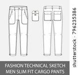 fashion technical sketch men... | Shutterstock .eps vector #796235386