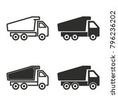 truck vector icons set. black... | Shutterstock .eps vector #796236202
