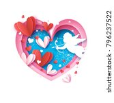 flying cupid   little angel.... | Shutterstock .eps vector #796237522