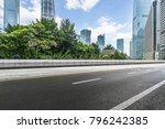 empty asphalt road with city... | Shutterstock . vector #796242385