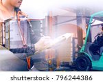 warehouse staff check the... | Shutterstock . vector #796244386