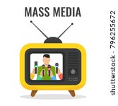 man giving press conference on... | Shutterstock .eps vector #796255672