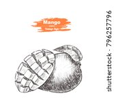 vector background with mango....   Shutterstock .eps vector #796257796