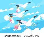 storks carry babies in beaks.... | Shutterstock .eps vector #796260442