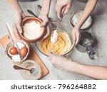 mothers and children's hands... | Shutterstock . vector #796264882