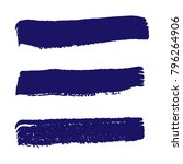 set of hand painted dark blue... | Shutterstock .eps vector #796264906