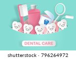 cute cartoon tooth with dental... | Shutterstock .eps vector #796264972
